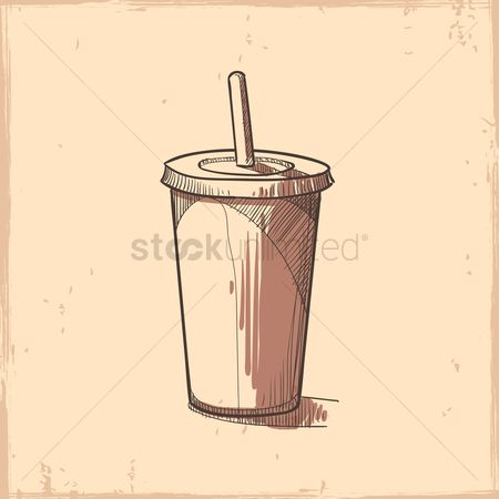 Take away cup : Take away cup with straw