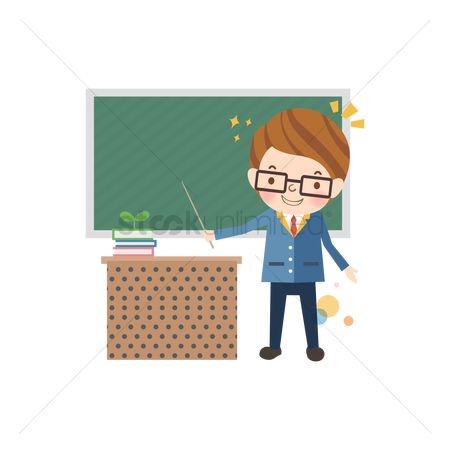 Blackboard : Teacher holding a pointer stick