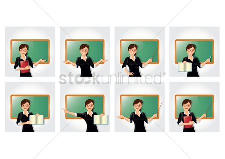 Teaching : Teacher with different gestures collection