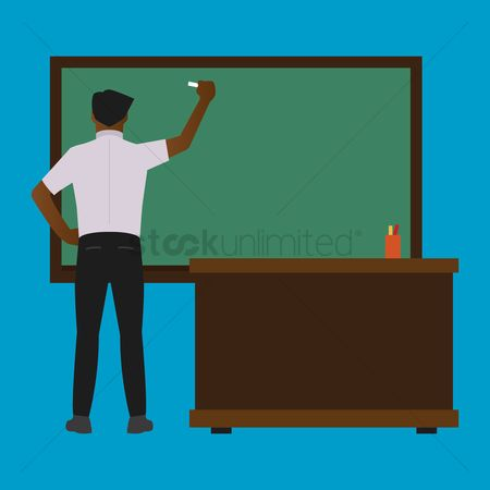 Teaching : Teacher writing on a blackboard