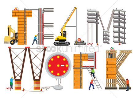 Constructions : Teamwork lettering design
