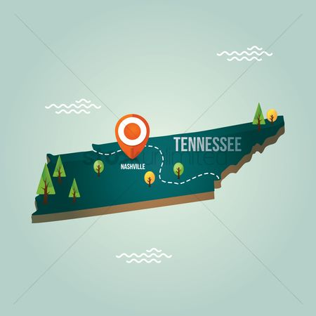 Tennessee : Tennessee map with capital city