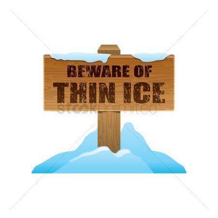 Beware : Thin ice signboard