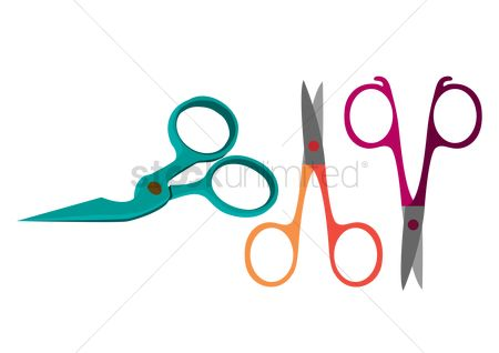 Cutters : Three scissors over white background