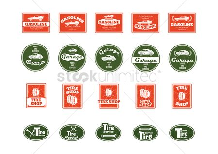 Old fashioned : Tire service signs icons