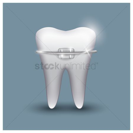 Tooth with braces : Tooth with braces
