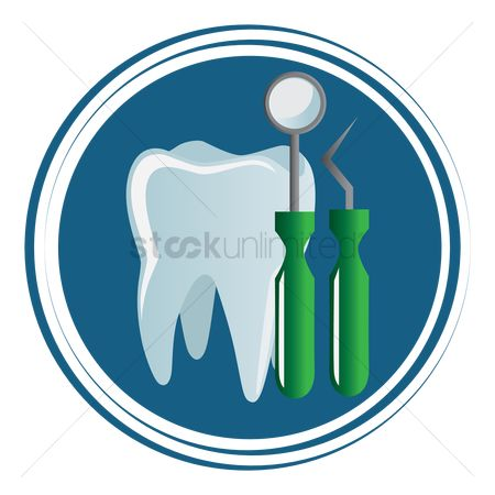 Dentist : Tooth with mirror and probe