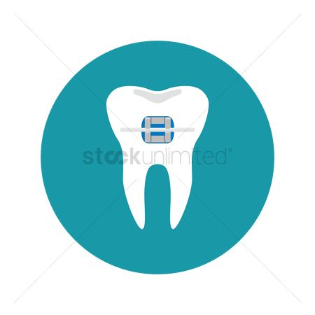 Tooth with braces : Tooth with staples