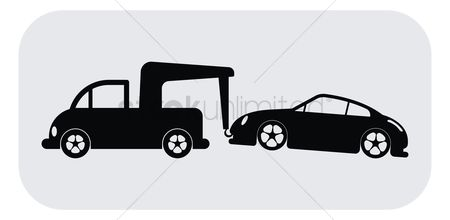 Truck : Tow truck towing a car