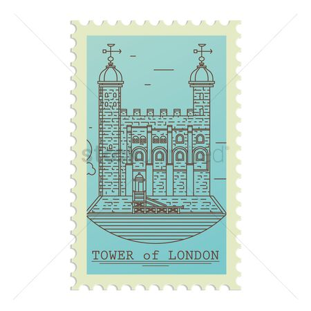 Tourist destination : Tower of london postage stamp