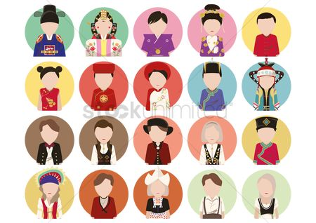 French : Traditional costume icons