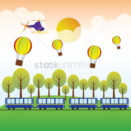 Rail : Train  hot air balloon and helicopter