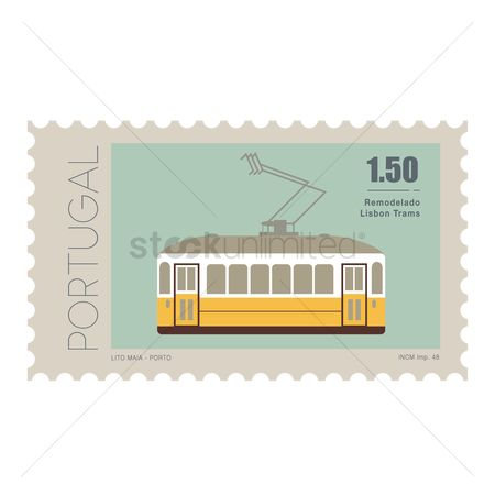 Electric cars : Tram postage stamp