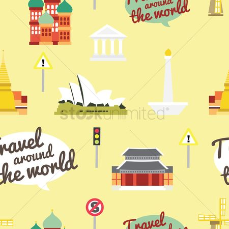 Roadsigns : Travel around the world background