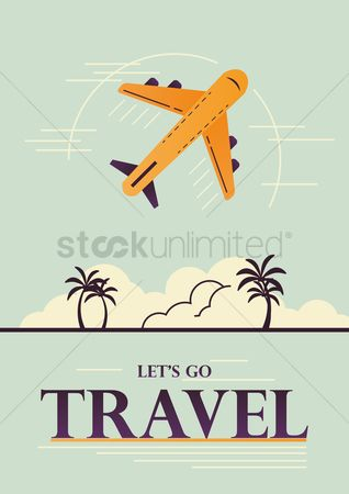 Touring : Travel concept poster with airplane