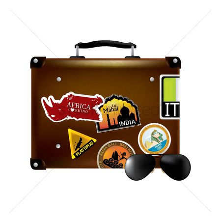 Egypt : Travel luggage with stickers
