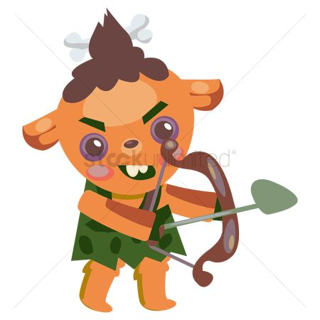 Archeries : Tribal cartoon character holding a bow and arrow