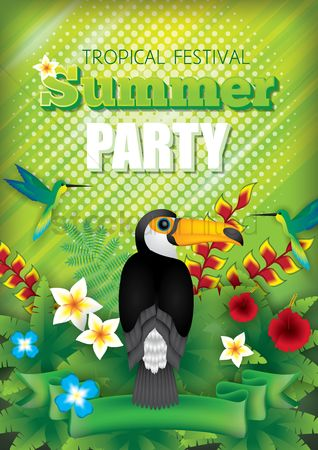 Toco toucan : Tropical summer festival party