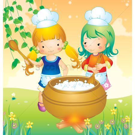 Flower pot : Two girls cooking