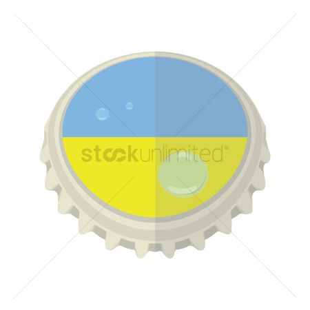 Ukraine : Ukraine flag on bottle cap