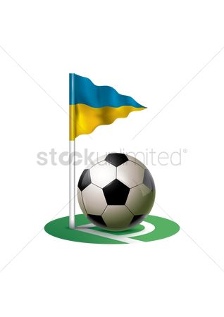 Ukraine : Ukraine flagpole with soccer ball