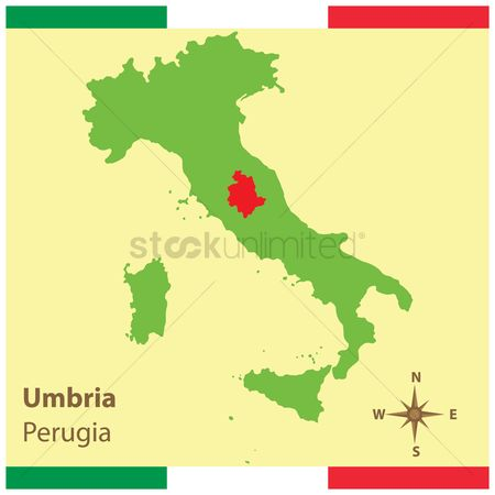 Highlights : Umbria on italy map