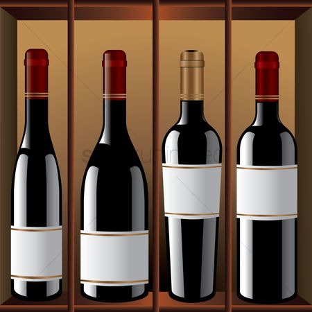 Racks : Unlabelled wine bottles