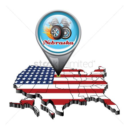 Auto racing : Us map with pin showing nebraska state