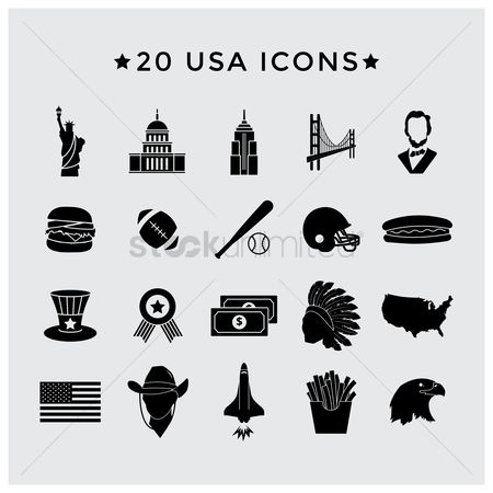 Baseball : Usa icons set