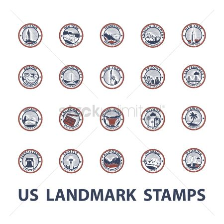 Needle : Usa landmark stamps