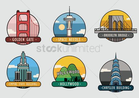 United states : Usa landmarks set