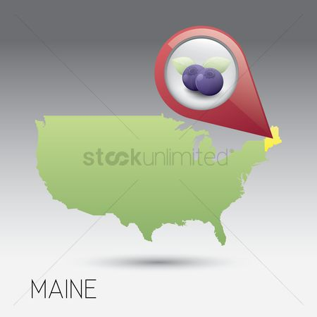 Blueberry : Usa map with maine state