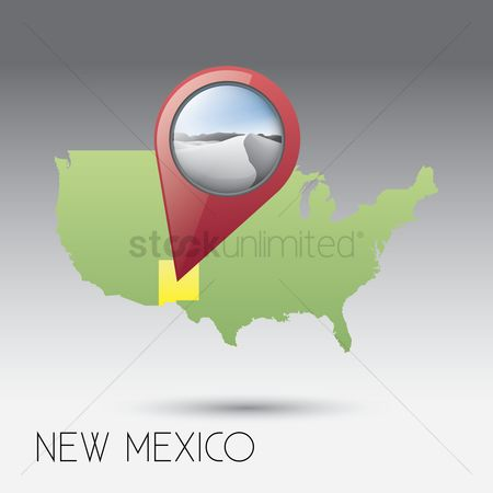 White sands : Usa map with new mexico state
