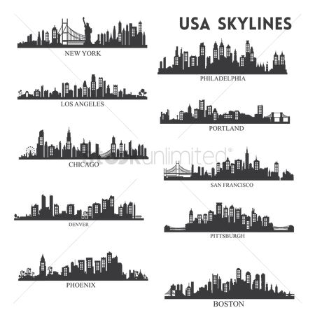 United states : Usa skyline silhouette collection
