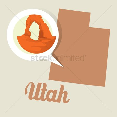 Utah map : Utah map with arches national park icon