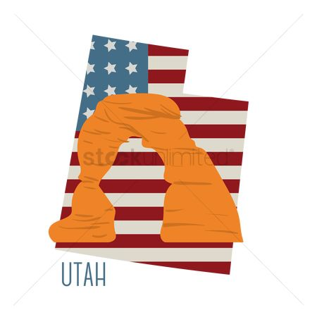Utah map : Utah state map with delicate arch