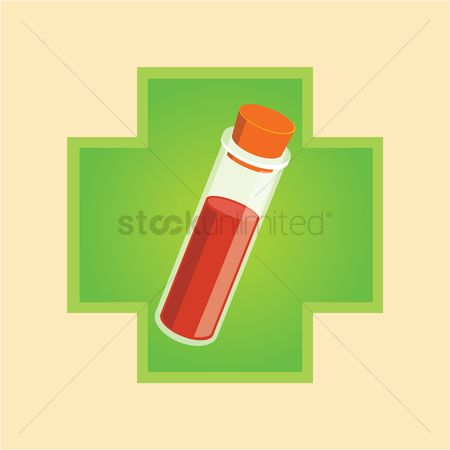 Clinicals : Vacutainer with blood sample on a cross