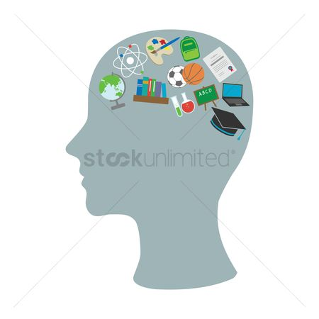 Contemplate : Various education icons in head