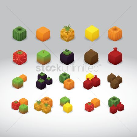 Watermelon : Various fruits and vegetable cubes