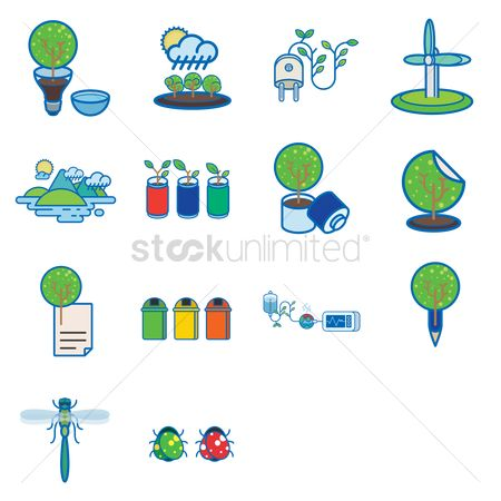 Clean : Various recycle and environmental icons