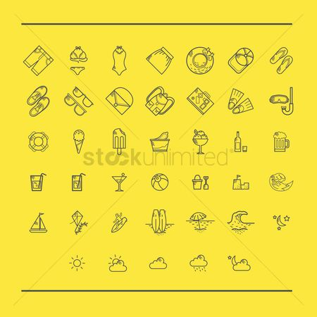 Transport : Various summer and beach icons