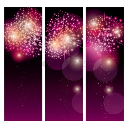 Noisy : Vertical fireworks banner  set