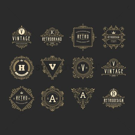 Insignia : Vintage and retro design element set