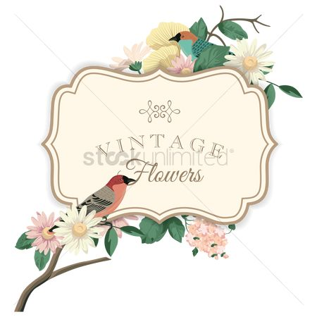 Vintage : Vintage flowers label