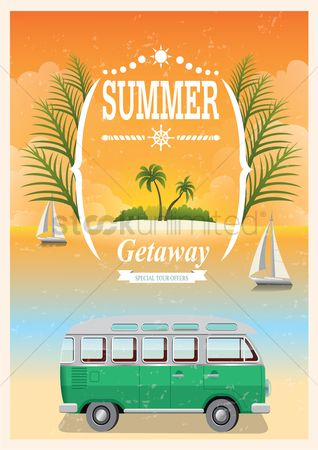 Transport : Vintage seaside poster