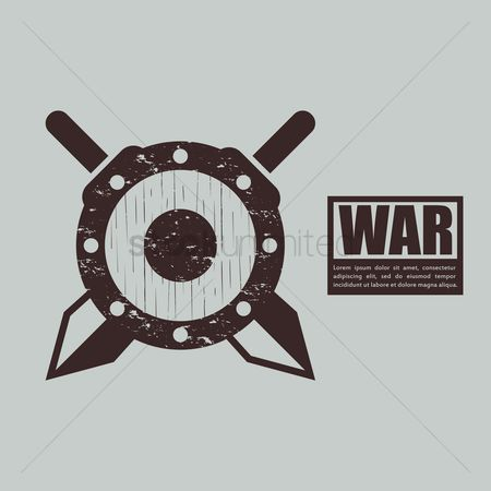 Combats : War concept with swords and shield