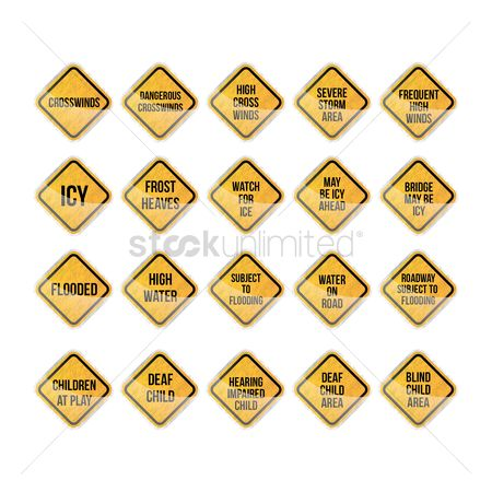 Roadsigns : Warning signs collection