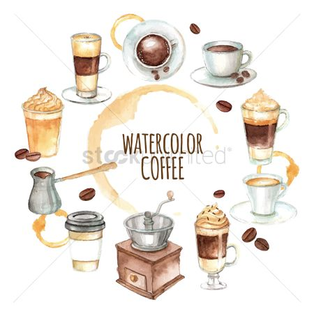 Cream : Watercolor coffee icon set