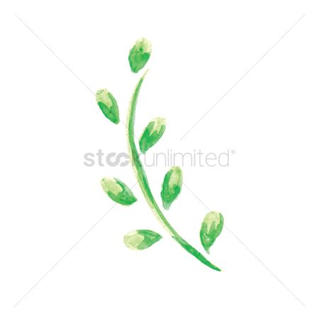 Stems : Watercolor leaves