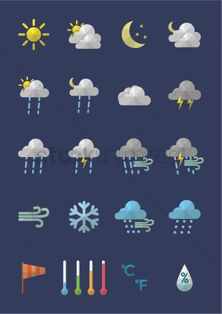 Temperatures : Weather icon set